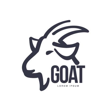 Zijaanzicht geitenhoofd logo sjabloon voor vlees en zuivelproducten, cartoon vector illustratie op een witte achtergrond. Geit profiel overzicht voor zuivel, vlees, landbouwproducten logo ontwerp