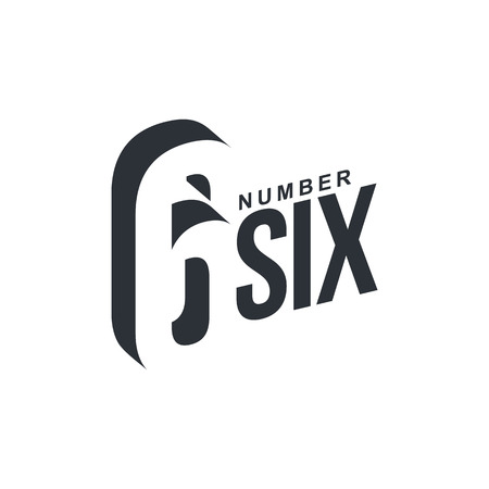 number six: Black and white number six diagonal logo template, vector illustrations isolated on white background. Graphic logo with diagonal logo with number six Illustration