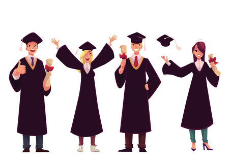 thumbsup: Set of happy students in traditional caps and gowns celebrating successful graduation, cartoon style illustration isolated on white background. Students in academic dress graduated from University