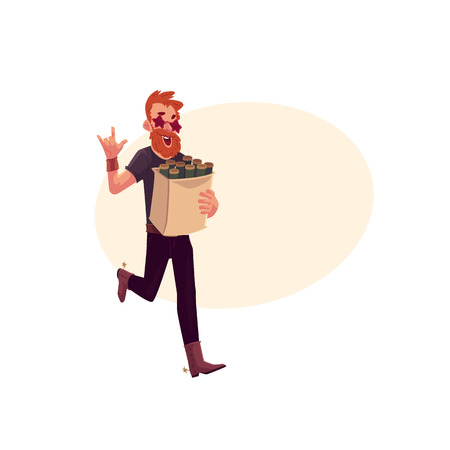 Young hipster in star glasses and cowboy boots hurrying to party with a bag of beer bottles, cartoon vector illustration isolated with space for text. Red haired party animal having fun at the party Illustration
