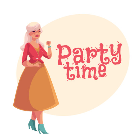 63 retirement party invitation stock illustrations cliparts and old senior gray haired elegant lady dancingcartoon style invitation banner stopboris Gallery