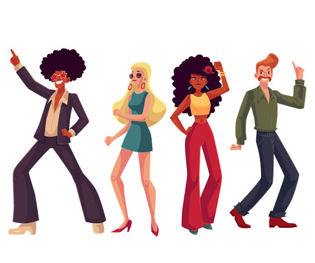 People in 1970s style clothes dancing disco, cartoon style vector illustration isolated on white background. Men and women in 60s, 70s style clothing dancing at retro disco party Vettoriali