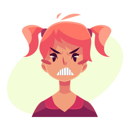 teen girl face: Teen girl face, angry facial expression, cartoon vector illustrations isolated on yellow background. Red-haired girl emoji face, feeling distresses, frustrated, sullen, upset. Angry Illustration