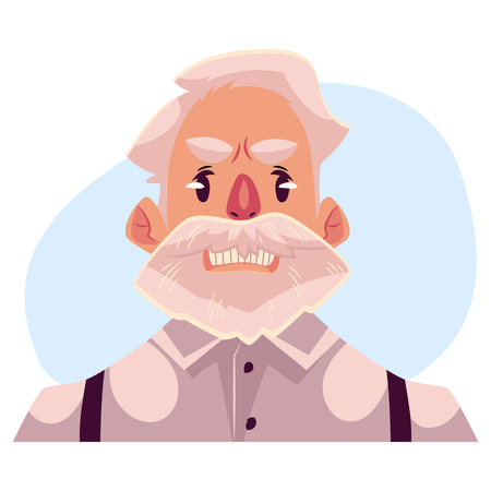 frowns: Grey haired old man face, angry facial expression cartoon vector illustrations isolated on blue background. Old man, grandfather frowns, feeling distresses, frustrated, sullen, upset. Angry face