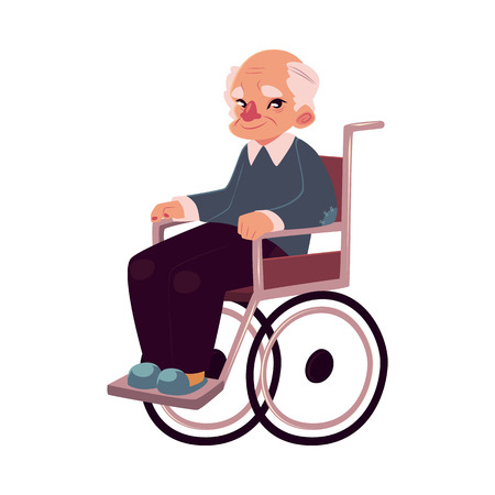 old man sitting: Portrait of happy old man sitting in wheelchair, cartoon vector illustration isolated on white background. Disabled senior, elder man, granddad sitting in wheelchair, living with disability concept Illustration