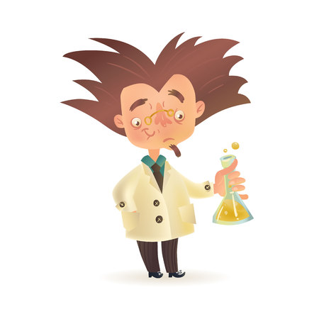 eccentric: Stereotypic bushy haired mad professor in lab coat holding chemical flask, cartoon illustration isolated on white background. Crazy comic scientist, mad professor, chemist, doctor