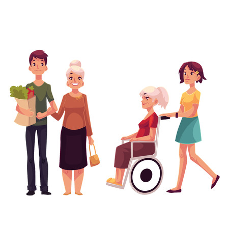 grandchildren: Helping grandmother with shopping and strolling her in wheelchair, cartoon vector illustration isolated on white background. Grandchildren carrying shopping bags ands strolling wheelchair for grandma Illustration