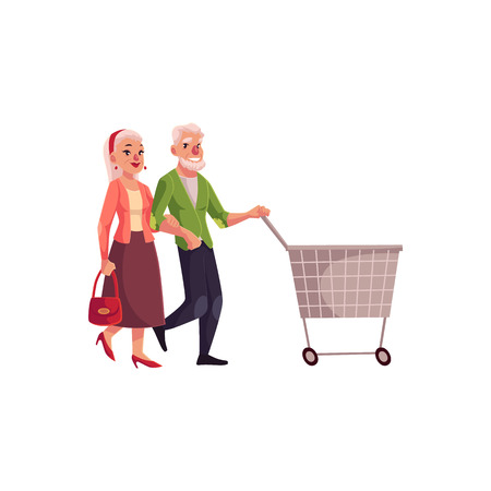 Old, senior, elder couple shopping together, cartoon vector illustration isolated on white background. Old couple pushing a cart, making shopping in the mall, consumerism concept