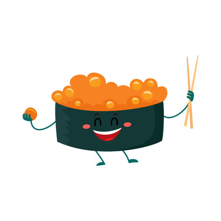 spicy mascot: Nori, seaweed roll, sushi, sashimi with caviar character holding Japanese chopsticks, cartoon vector illustration isolated on white background. Cute and funny smiling caviar sushi, Asian cuisine