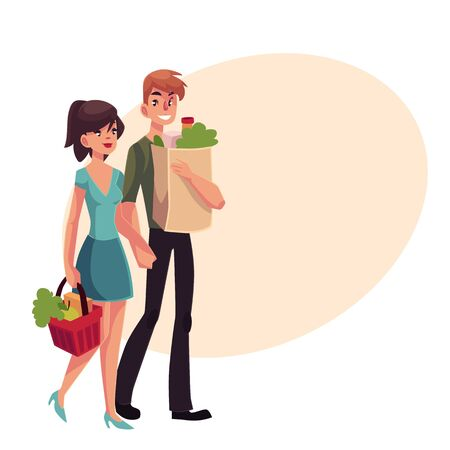 Young couple buying food at grocery store, cartoon vector illustration on background with place for text. Full length portrait of young boy and girl carrying shopping bags with food products