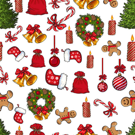 Colorful seamless pattern with traditional Christmas decorations, cartoon vector illustration isolated on white background. Christmas decoration elements, seamless pattern, wrap, textile design Çizim