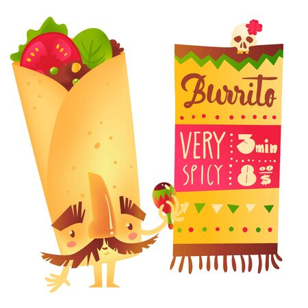 brow: Big burrito character with thick eyebrows and moustache playing Mexican maraca, cartoon vector illustration isolated on white background. Traditional Mexican burrito character shaking maraca Illustration