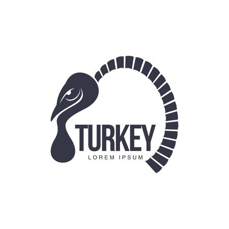 view abstract: Stylized abstract side view turkey graphic logo template, vector illustration on white background. Black and white side view abstract turkey for business, farm, poultry logo design Illustration