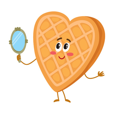 look in mirror: Cute and funny waffle, wafer character looking into handheld mirror, cartoon vector illustration isolated on white background. Funny smiling heart-shaped wafer character with face, arms and legs