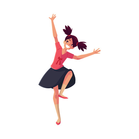 ponytails: Full length portrait of teenaged black haired girl with ponytails dancing, cartoon style vector illustration isolated on white background. Smiling girl with ponytails dancing in pink and black clothes
