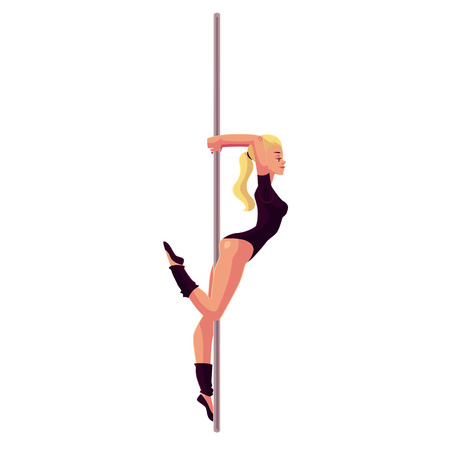 Young woman in black leotard standing at the pole, cartoon style vector illustration isolated on white background. Young, slim and beautiful pole dancer standing sexually at the pole
