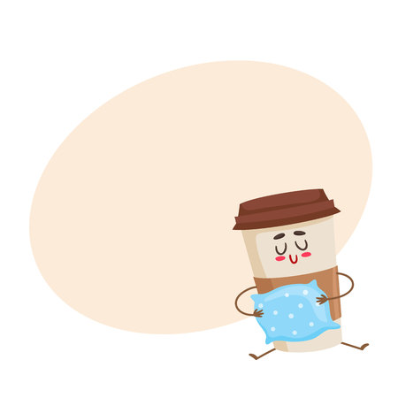 waking up: Funny sleepy paper coffee cup character with a pillow, cartoon style vector illustration on yellow background with place for text. Cute take away coffee cup character, waking up concept