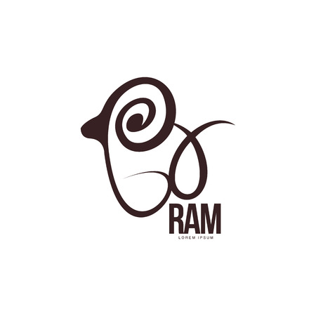 Stylized ram, sheep, lamb outline graphic  template, vector illustration on white background. Back view black and white sheep, lamb, ram body outline for business, farm, wool products  design