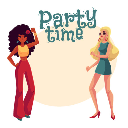 Young women, black and white, in 1960s style clothing dancing disco, cartoon style invitation, greeting card design. Party invitation, advertisement, African and caucasian girls in retro style clothes