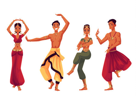 harem: Indian dancers in traditional costumes, cartoon vector illustration isolated on white background. Traditional Indian male and female dancers in national costumes, sari, harem pants, Bollywood