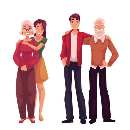 Kleinkinderen koesteren hun grootouders, cartoon vector illustratie op een witte achtergrond. Full length portret van een jonge man knuffelen opa en oma meisje omhelzen