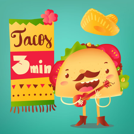 spicy mascot: Happy taco character in sombrero singing and playing Mexican guitar, cartoon vector poster, banner, leaflet design for cafes and restaurants. Special offer design with singing funny taco character