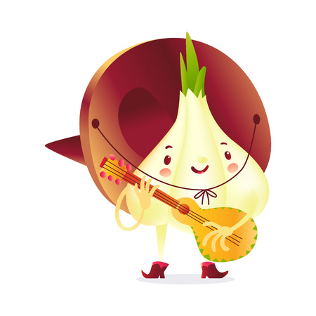 Onion character in boots and sombrero playing Mexican guitar, cartoon vector illustration isolated on white background. Onion in cowboy boots and big sombrero playing guitar and singing serenade