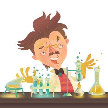 bushy: Bushy haired mad professor in lab coat experimenting with flasks sitting at the table, cartoon illustration. Crazy comic scientist, mad professor, chemist, doctor