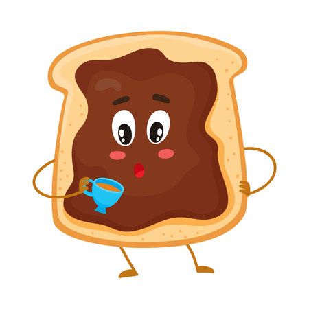 Cute and funny toast with chocolate spread character holding a cup of tea, cartoon vector illustration isolated on white background. Freshly toasted breakfast bread with chocolate cream character Illustration