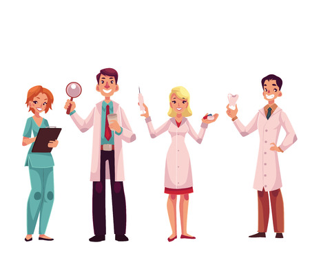 practitioner: Doctors - nurse, surgeon, general practitioner and dentist, cartoon vector illustration isolated on white background. Male and female medical workers, doctors, health care professionals
