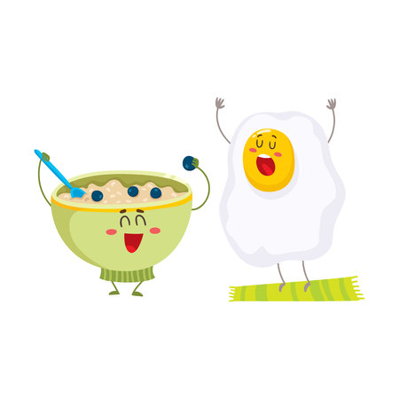 Funny fried egg and bowl of cereal characters, ideal breakfast for kids, cartoon vector illustration isolated on white background. Fried egg and bowl of oatmeal characters, mascots, design elements
