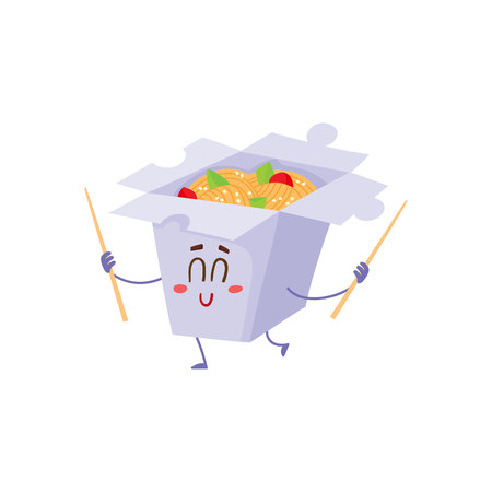 spicy mascot: Japanese noodle in paper box character with smiling face and chopsticks, cartoon vector illustration isolated on white background. Cute and funny smiling noodle box character, Asian cuisine