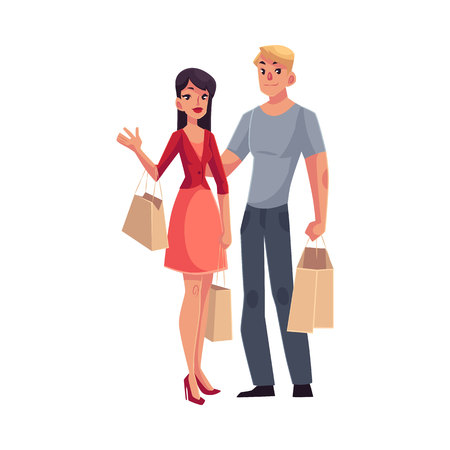 middle aged couple: Couple of young man and woman with shopping bags, cartoon vector illustration isolated on white background. Full length portrait of young pretty girl, woman and handsome man doing shopping