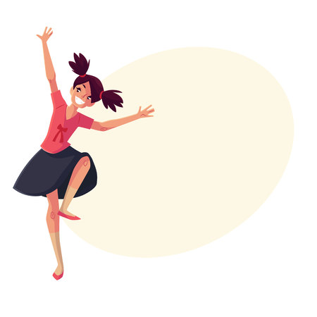 ponytails: Full length portrait of teenaged black haired girl with ponytails dancing, cartoon style vector illustration isolated on yellow background with place for text. Smiling girl with ponytails dancing Illustration