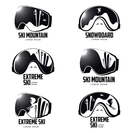 Black and white graphic mountain skier goggles vector illustration isolated on white background. Collection of mounting skiing designs with goggles, mask, glasses, skis, mountains and snow