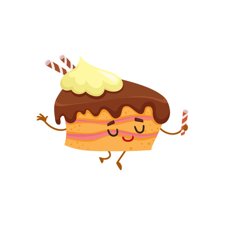 Funny sponge cake character with chocolate cream topping, cartoon style vector illustration isolated on white background. Cute smiley piece of birthday cake character with eyes and legs Illustration