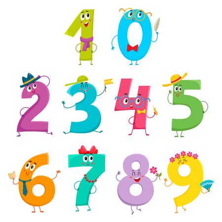 귀 엽 고 재미있는 다채로운 숫자 문자, 흰색 배경에 고립 된 만화 벡터 일러스트 레이 션의 집합입니다. 1, 2, 3, 4, 5, 6, 7, 8, 9, 미소 문자 0, 수학 기호