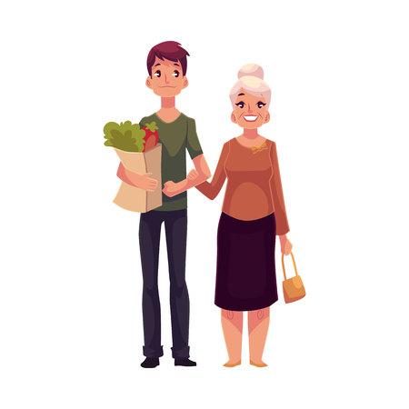 Jonge man helpen oma met winkelen, cartoon vectorillustratie geïsoleerd op een witte achtergrond. Full length portret met boodschappentassen voor zijn oma, vrijwilligerswerk, sociale bijstand
