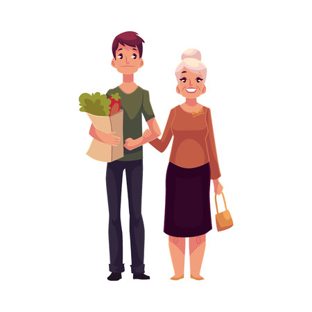 Young man helping grandmother with shopping, cartoon vector illustration isolated on white background. Full length portrait carrying shopping bags for his grandma, volunteering, social assistance