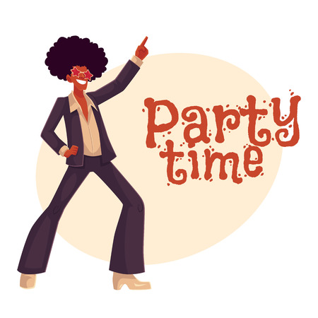 wig: Man in afro wig and 1970s style clothes dancing disco, cartoon style invitation, greeting card design. Party invitation, advertisement, Young man in star sunglasses and afro wig dancing at retro disco
