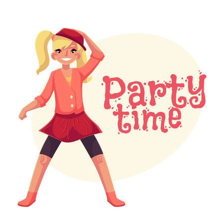 Full length portrait of teenaged blond girl in pink clothes dancing, cartoon style invitation, greeting card design. Party invitation, advertisement, Smiling blond girl with ponytails dancing