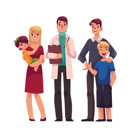 practitioner: Family doctor with patients, father, mother and children, standing together, cartoon vector illustration isolated on white background. Family with a doctor, medical, health care practitioner
