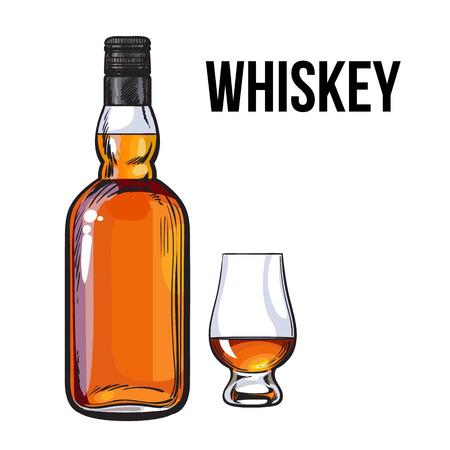 Non aperto, senza etichetta bottiglia di whisky piena, schizzo stile illustrazione vettoriale isolato su sfondo bianco. disegno a mano realistica di una, il whisky non aperto, rum, bottiglia di brandy senza etichetta