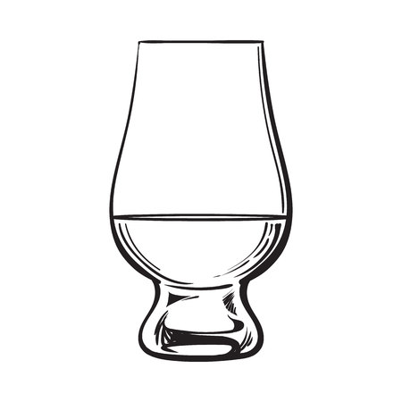 bourbon whisky: Scotch whiskey, rum, brandy nosing glass, sketch style vector illustration isolated on white background. black and white hand drawing of nosing glass for whiskey, scotch, brandy Illustration