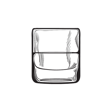 highball: Scotch whiskey, rum, brandy shot glass, sketch style vector illustration isolated on white background. black and white hand drawing of a glass of whiskey shot