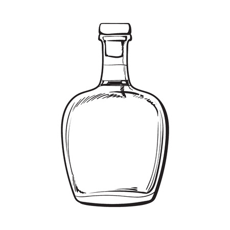 rum: Full Jamaican rum bellied bottle, sketch style vector illustration isolated on white background. black and white hand drawing of an unlabeled, unopened rum, brandy, whiskey bottle Illustration