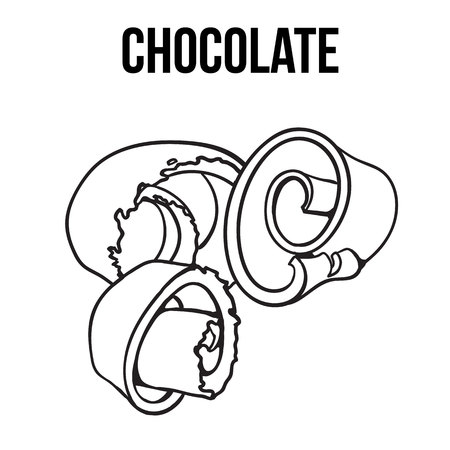 chocolate swirl: black and white chocolate shaving, curl, spiral for cake decoration, sketch style vector illustration isolated on white background. Chocolate confectionary ingredient, hand drawn chocolate shaving