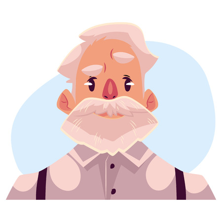 Grey haired old man face, angry facial expression, cartoon vector illustrations isolated on blue background. Old man, grandfather feeling distressed, frustrated, sullen, upset. Angry face expression