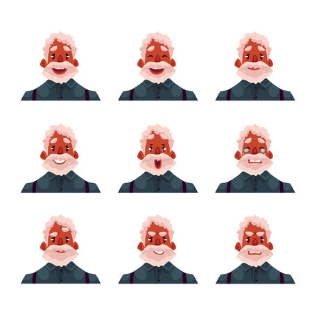black haired: Grey haired old african man face expression, set of cartoon vector illustrations isolated on white background. Old black man, grandfather emoji face icons, set of male avatars with different emotions Illustration