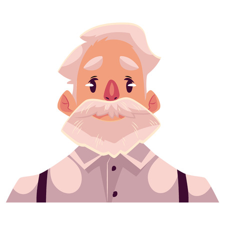 Grey haired old man face, neutral facial expression, cartoon vector illustrations isolated on background. Old man, grandfather emoji feeling glad, serene, relaxed, delighted. Neutral face expression